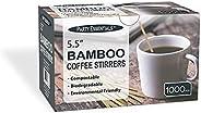 "Party Essentials N550073 Bamboo 5.5"" Coffee Stirrers/Beverage Stir Sticks, 1000-Count, Na"