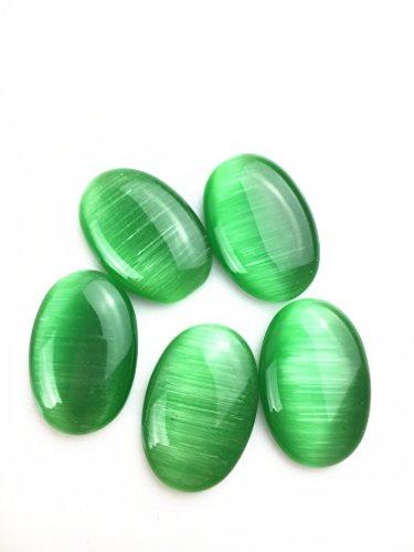 JCGJ Semi Precious Stones,Healing Crystal Cat Eye Oval Cab Cabochon for Jewelry Making(30x20x6mm,5pcs)