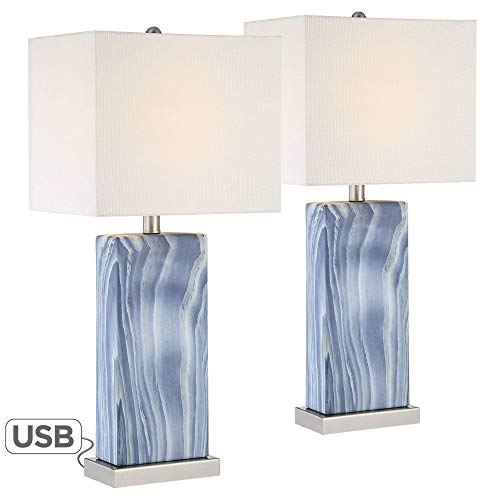Connie Blue Rectangular USB Table Lamps Set of 2-360 ()
