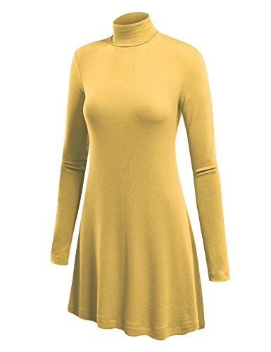 Mbj Wt992 Womens Long Sleeve Turtleneck Sweater Tunic With Various Hem M Yellow