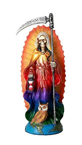 Pacific Giftware Santa Muerte Saint of Holy Death Standing Religious Statue 7.25 Inch Rainbow Tunic Seven Powers Santisima Muerte Sculpture]()