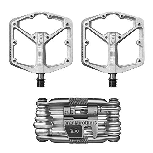 CRANKBROTHERs Crank Brothers Stamp 2 Lightweight Racing Bike Pedals Pair (Silver) and M19 Bicycle Maintenance Multi-Tool Kit