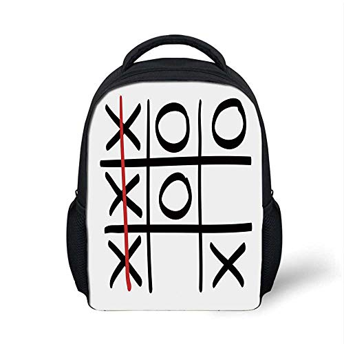 Xo Stylish Backpack,Popular Tic Tac Toe Game Pattern Hand Drawn Design Win Victory Finish Theme Decorative for School Travel,9.4
