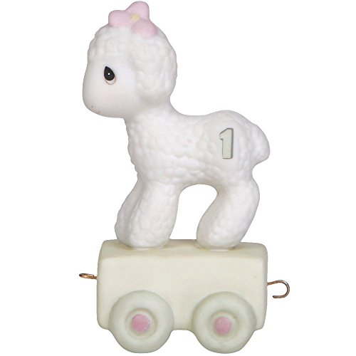 Lamb Precious (Precious Moments,  Happy Birthday Little Lamb, Birthday Train Age 1, Bisque Porcelain Figurine, 142021)
