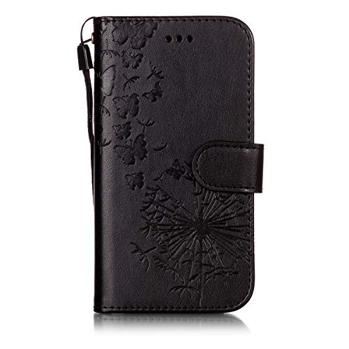 Ivy [Butterflies & Dandelions][Card Holder] Wrist Strap PU Leather FILP Cover Wallet Phone Cases for Samusng Galaxy S3/S III SM-I9300 - Black ()