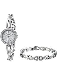 Women's 75/5486MPSVST Swarovski Crystal Accented Silver-Tone Crossover Bangle Watch and Bracelet Set