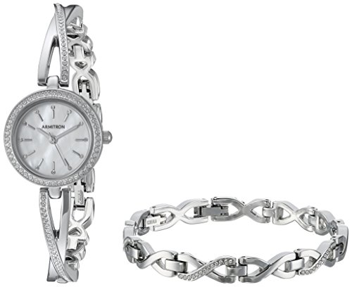 (Armitron Women's 75/5486MPSVST Swarovski Crystal Accented Silver-Tone Crossover Bangle Watch and Bracelet Set)