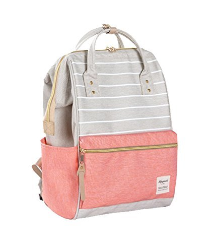 Striped Backpack For Women, Teens, Men, Boys and Girls Fashion Backpacks (Large, Grey Stripes with Pink)