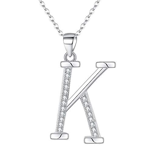 EVER FAITH 925 Sterling Silver CZ Cursive Initial Alphabet Letter K Adjustable Pendant Necklace Clear