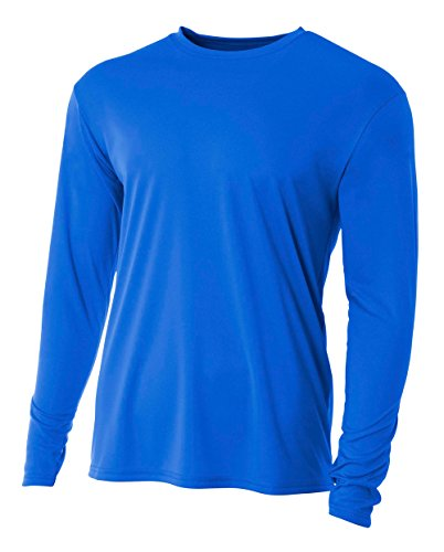 A4 Men's Cooling Performance Crew Long Sleeve T-Shirt, Royal, Large (Best Mens Cooling Shirt)