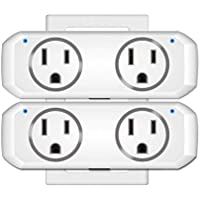 2 Pack Oukitel Wifi Dual Mini Smart Plug Socket for Use With Alexa Echo/google Home/ifttt