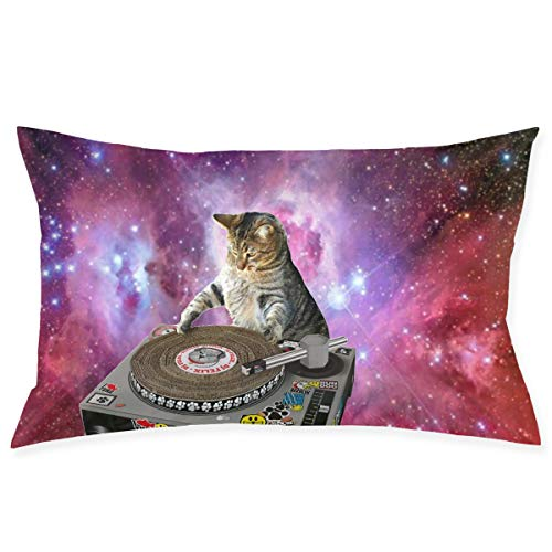 Mr.Roadman Space Cat Playing Disk Pillowcase - Zippered Pillowcase, Pillow Protector, Best Pillow Cover - Standard Size 20x30 Inches, Double-Sided Print