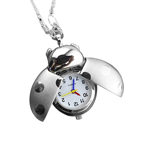 GlobalDeal Retro Beetle Ladybug Shape Quartz Pocket Watch Necklace Pendant Unisex Gifts (Silver)