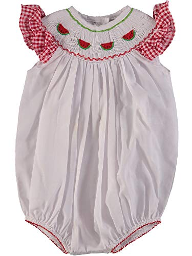 Carriage Boutique Baby Girl White Bubble with Red Ruffles - Hand Smocked - Bubble Smocked
