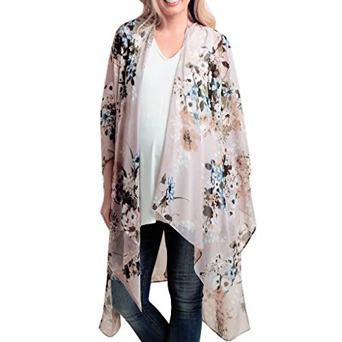 (Besooly Women Cardigan Floral Print Chiffon Shawl Kimono Top Loose Plus Size Shirt Coat Bohemia Long Shirt Blouse (L, Pink))