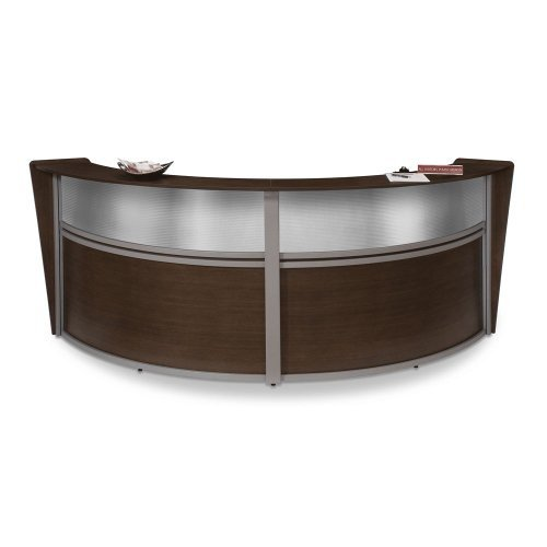 OFM Marque Series Plexi Double-Unit Curved Reception Station, Maple by OFM