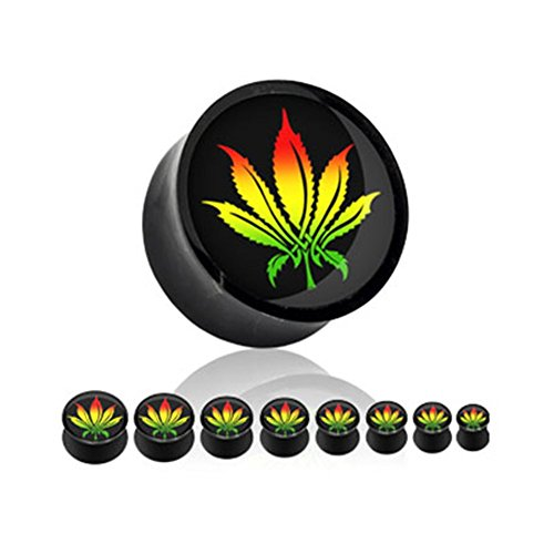 MsPiercing Pair Of Black Acrylic Pot Leaf Saddle Plugs, Gauge: 3/4