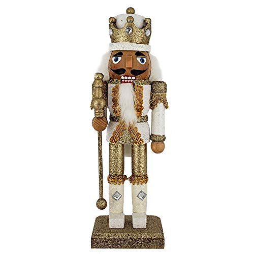 - Christmas Holiday Wooden Nutcracker Figure Soldier King with Traditional Gold and White Glitter Uniform Jacket and Crown with Gold Tassels, Rhinestone Sparkle and Braided Details, Large, 10 Inch