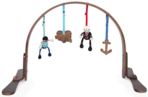 Finn + Emma Play Gym, Organic Cotton and Natural Wood with Hand-Knit Rattle and Teether Stroller Toys for Baby Boy or Girl – Sailor - Dark by Finn + Emma
