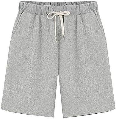 Womens Elastic Waist Soft Knit Jersey Bermuda Shorts with Drawstring