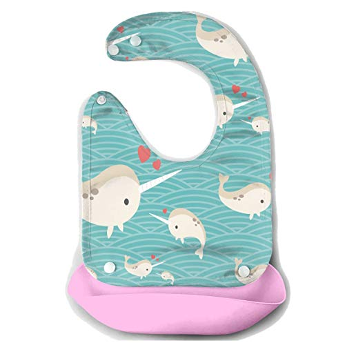 Love Baby Narwhal Waterproof Silicone Baby Bibs for Girls Boys Pink