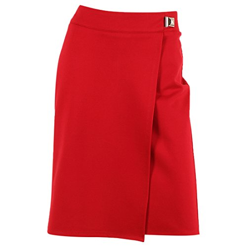 Women's 'Euro Stretch' Stretch Front Pleat Pencil Skirt,RUBY,8 (Buckle Pencil Skirt)