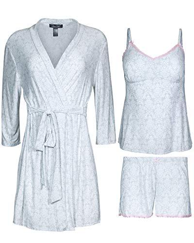 Rene Rofe Women\'s 3-Piece Pajama Set - Shorts, Cami and Robe, Grey Floral, Size - Sleepwear 3 Piece Set Pjs