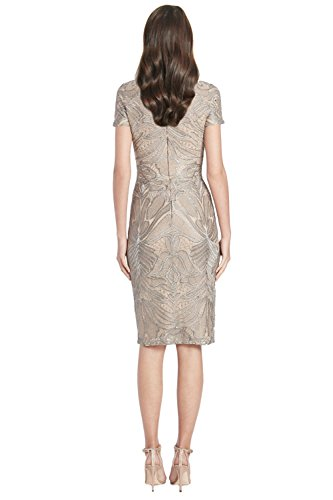 Sleeve Meister Cocktail David Short Embroidered Dress Tulle A1xOfqZS