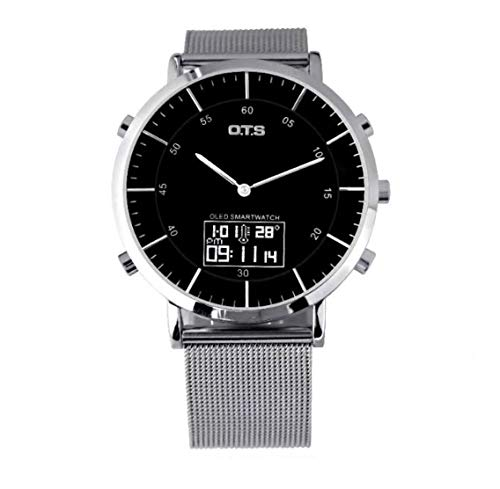 (Men's Analog Digital Watches Dual Time Mesh Band Waterproof Wrist Watch (Black White))