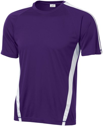 Joe's USA Men's Athletic All Sport Training T-Shirt ,Purple/ White ,Large (Ton Shirt White)
