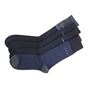 Calvin Klein Men's 4-Pairs Navy Stripe/Contrast Assorted Crew Socks Sz: 7-12