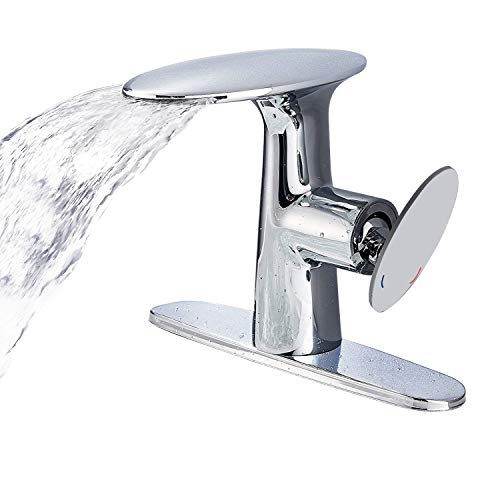 sh Waterfall Bathroom Sink Faucet Single Hole One Handle Deck Mount Lavatory with Matching 8