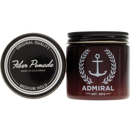 Admiral Fiber Hair Pomade (Strong/Medium Hold-Medium Shine) 4oz - Professional Grade Formula for Straight, Thick or Curly Hair