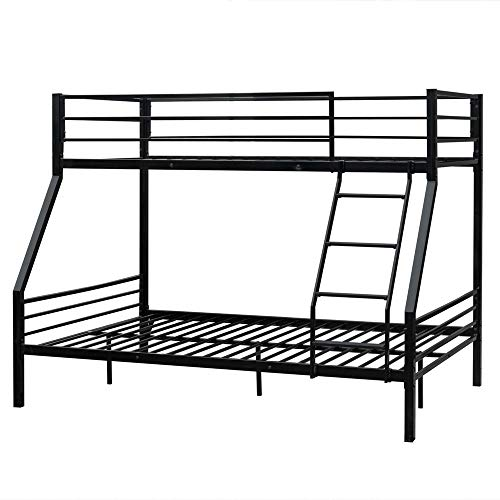 (Bonnlo Bunk Bed Twin Over Full Sturdy Metal Bed Frame with Flat Ladder and Guardrail for Adults/Children/Teens, Black)