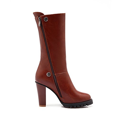 MNS02099 1TO9 Top Urethane Boots Ground Toe Lining Leather High High Smooth Warm Firm Heels Closed Waterproof Zip Womens Boots Brown Road AwrFHAq