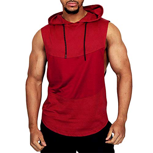 (Mikey Store Men's Summer Casual Patchwork Hooded Sleeveless Sport T-Shirt Tops Red)