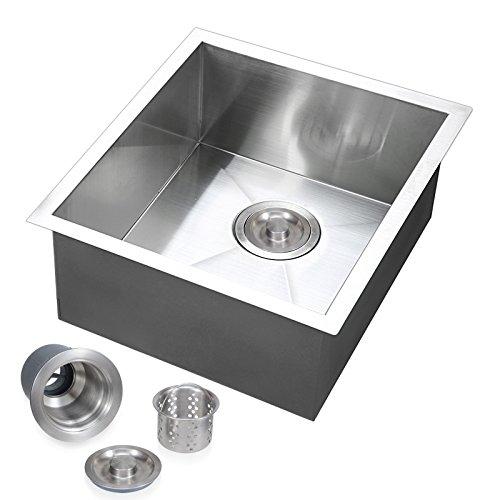 Voilamart 17'' x 17'' Single Bowl Handmade Stainless Steel Kitchen Sink 19 Gauge - Undermount Topmount Flushmount - Laundry Utility Sink by Voilamart