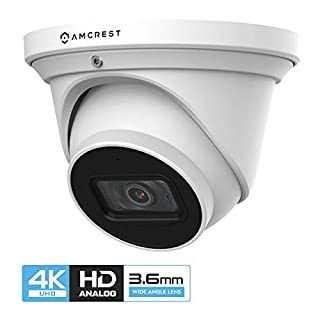 Amcrest ProHD 4K Dome Outdoor Security Camera, 4K (8-Megapixel), Analog Camera, 164ft Night Vision, IP67 Weatherproof Housing, 3.6mm Lens, 87° Narrow Angle, Built-in Microphone, White (AMC4KDM36-W)