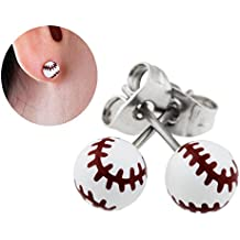 """Best Wing Jewelry """"Tiny Baseball"""" Stud Stainless Steel Post Earrings"""