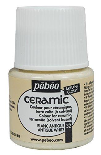 Pebeo Ceramic, Enamel Effect Paint, 45 ml Bottle - Antique White