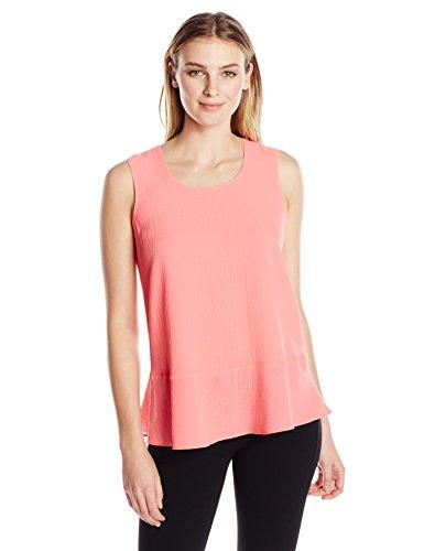 Ellen Tracy Women's Flounce Hem Shell, Blossom Pink, XS