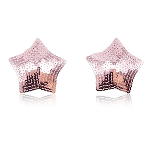 (Womens Reusable Nipple Cover Star Shaped Sequins Breast Petals Pasties (Pink))