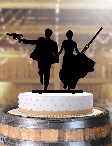 Jedi Couple Bride And Groom Light Sabers Star Wars Wedding Cake Topper