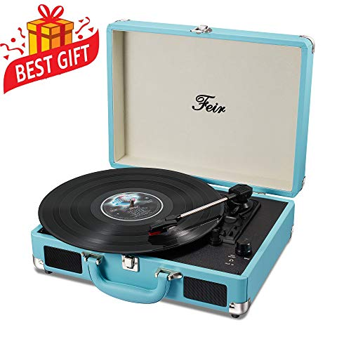 Vinyl Stereo Blue Record Player 3 Speed Portable Turntable Suitcase Built in 2 Speakers RCA Line Out AUX Headphone Jack PC Recorder (Record Player Pink)