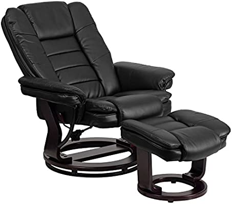Magnificent Flash Furniture Contemporary Multi Position Recliner With Horizontal Stitching And Ottoman With Swivel Mahogany Wood Base In Black Leather Dailytribune Chair Design For Home Dailytribuneorg