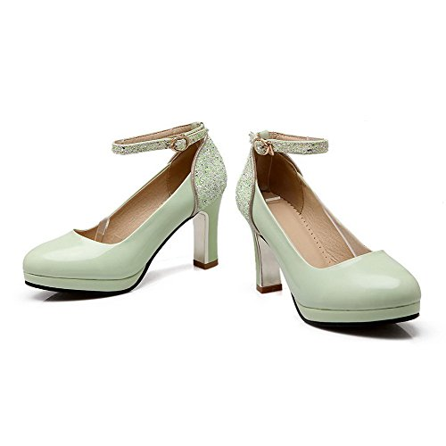Allhqfashion Sekoitus Pyöreä Pumput Toe Korkokengät Vihreä Suljetun Materiaaleja Solki Kiinteä kengät Naisten rRqwAU1r
