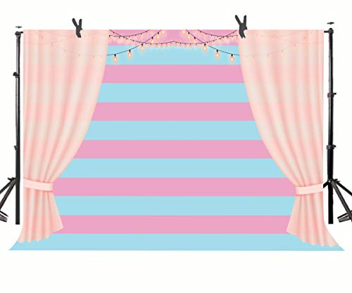 (STS Blue Pink Stripes Photography Background Pink LED Light Strings and Curtains Party Theme Personal Portrait Background Cloth Studio You Tube Props)