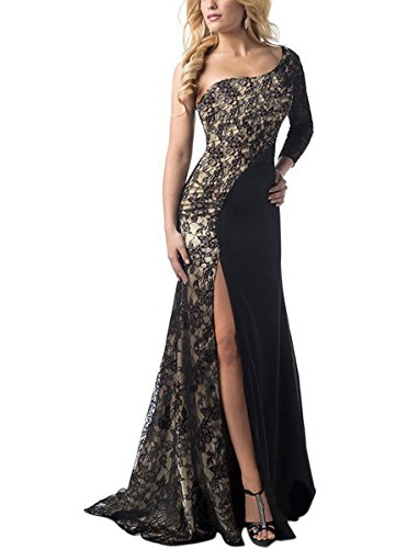 Engood Womens Sexy Lace Stitching One Shoulder Long Sleeve Mermaid Evening Gown Formal Maxi Dress Black 2XL