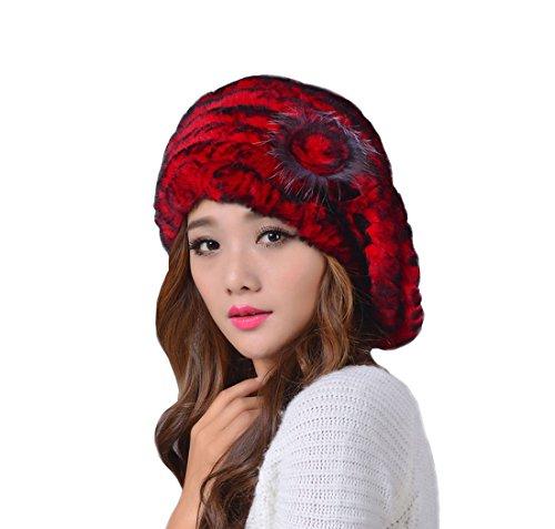 King Star Winter Women's Rex Rabbit Fur Warm Fashion Beret Hats with Fur Flower Red