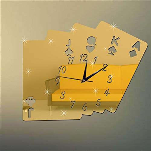 (HUSHIJIAN New Poker Mirror Wall Clock On The Wall Fashion Luxury and Classic Needle Clocks for Living Room Playing Card Stickers)